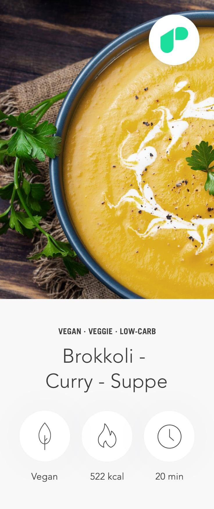 Upfit Brokkoli Curry Suppe