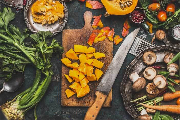 different healthy foods on a cutting board