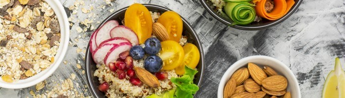 bowl of healthy and vegan foods