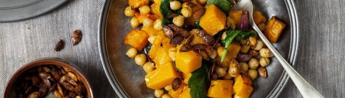 healthy vegan recipes - chickpea and pumpkin bowl