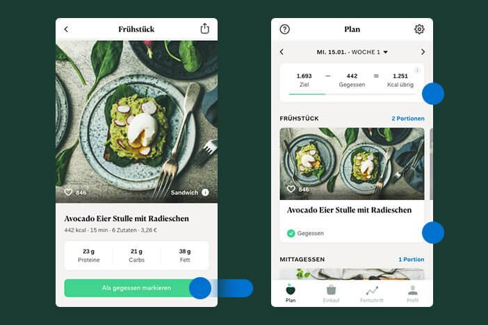 upfit app ernaehrungsplan gericht gegessen