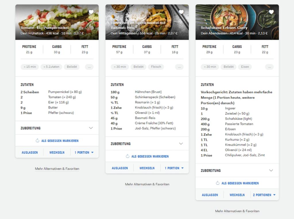 Screenshot Ernährungsplan von Daniela