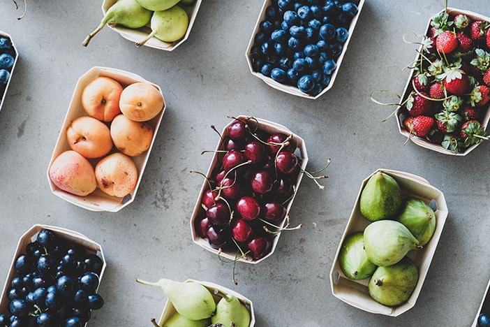 verschiedene früchte fructose